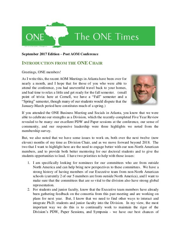 September 2017 Edition – Post AOM Conference INTRODUCTION FROM THE ONE CHAIR Greetings, ONE members! As I write this, the ...