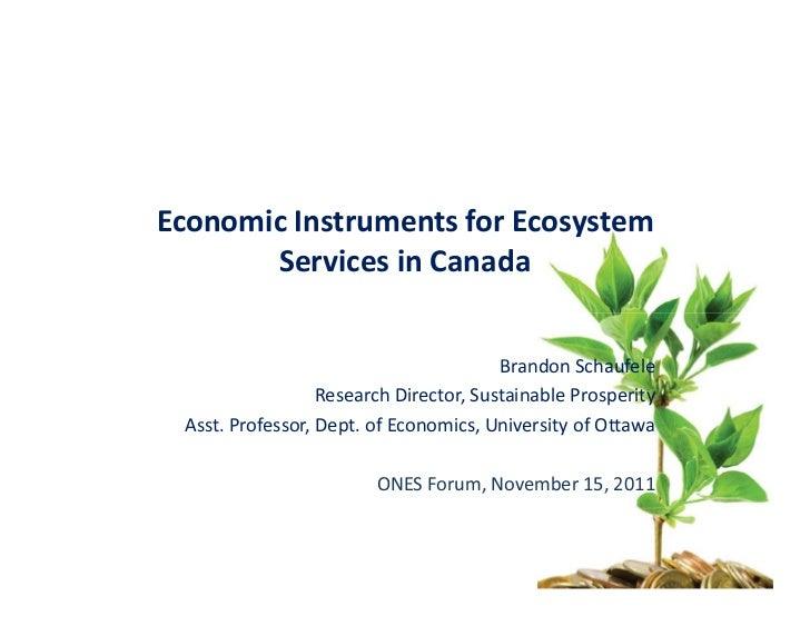 Economic Instruments for Ecosystem       Services in Canada                                        Brandon Schaufele      ...
