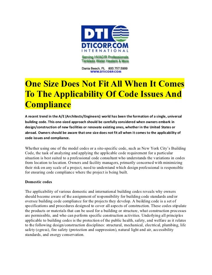 One Size Does Not Fit All When It ComesTo The Applicability Of Code Issues AndComplianceA recent trend in the A/E (Archite...