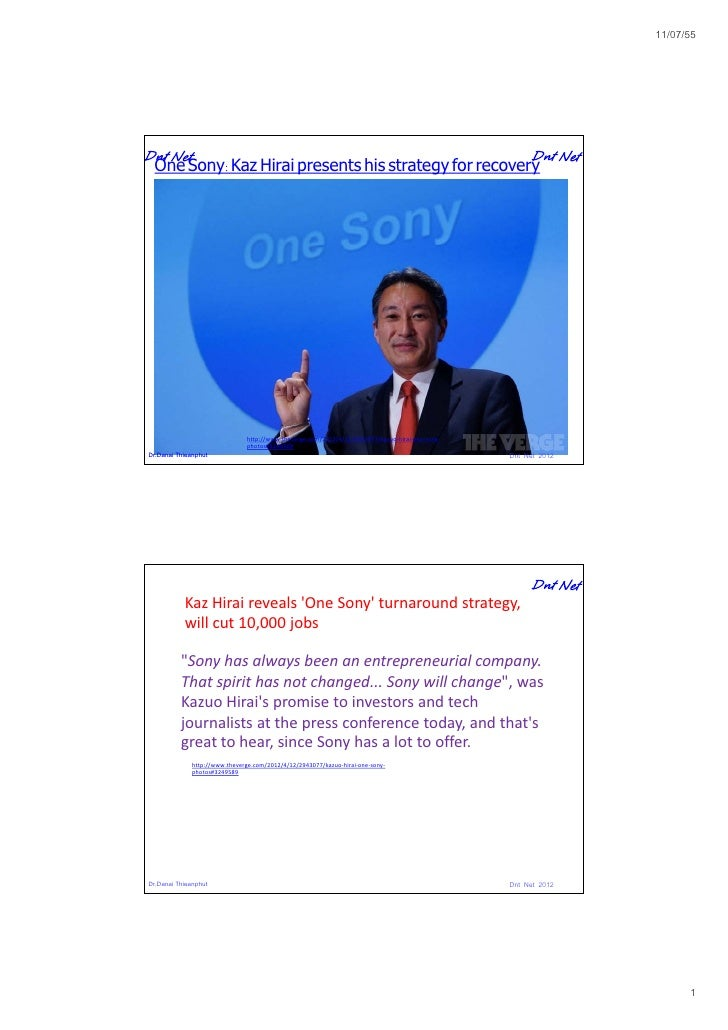11/07/55 One Sony: Kaz Hirai presents his strategy for recovery                               http://www.theverge.com/2012...