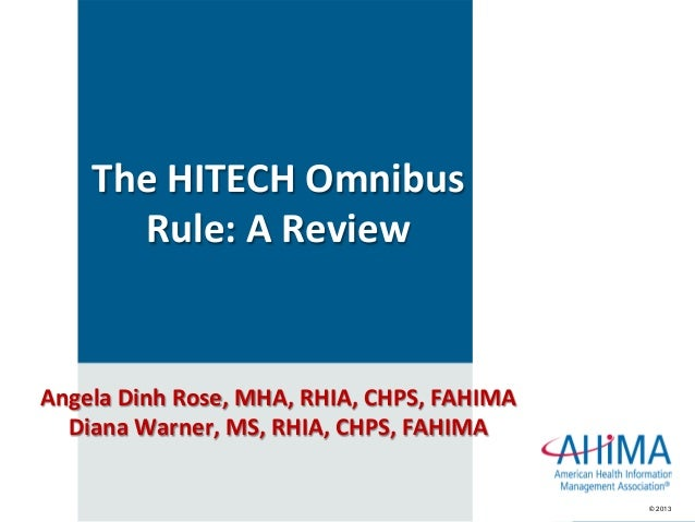 © 2013© 2013 TheHITECHOmnibus Rule:AReview AngelaDinhRose,MHA,RHIA,CHPS,FAHIMA DianaWarner,MS,RHIA,CHPS,...