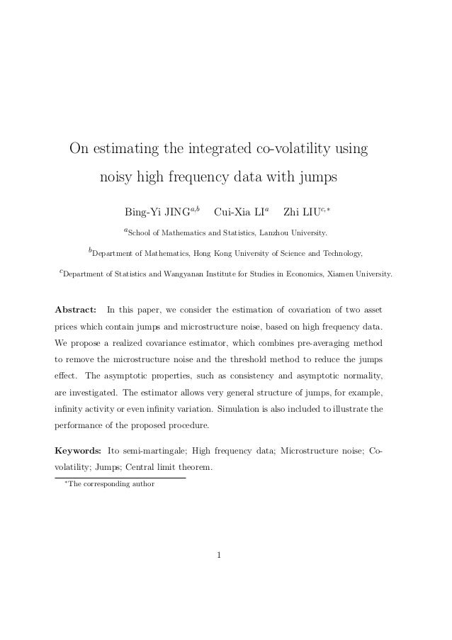 On estimating the integrated co-volatility using                    noisy high frequency data with jumps                  ...