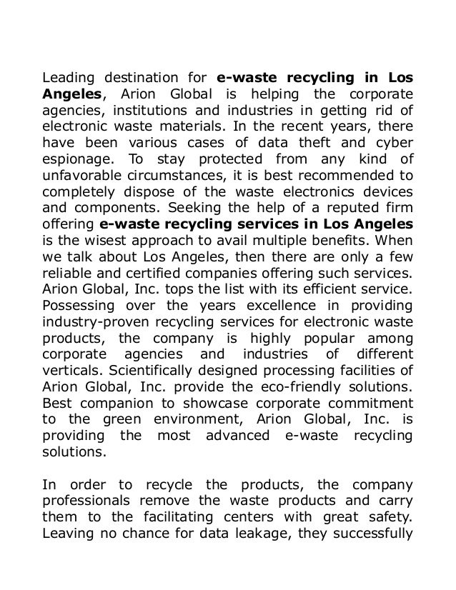 One Stop Solutions In Budget: One Stop Solution For E-Waste Recycling Needs Throughout