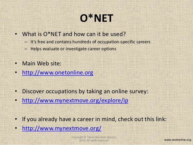o net online occupations