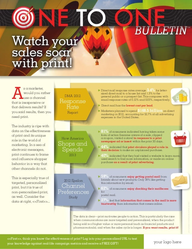 One to One Bulletin Newsletter sample