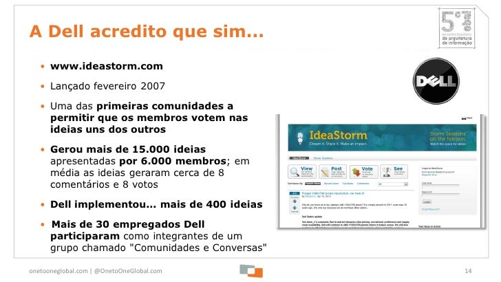 A Dell acredito que sim...   • www.ideastorm.com   • Lançado fevereiro 2007   • Uma das primeiras comunidades a     permit...