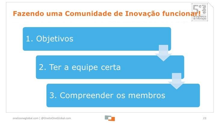 Fazendo uma Comunidade de Inovação funcionar!        1. Objetivos                 2. Ter a equipe certa                   ...