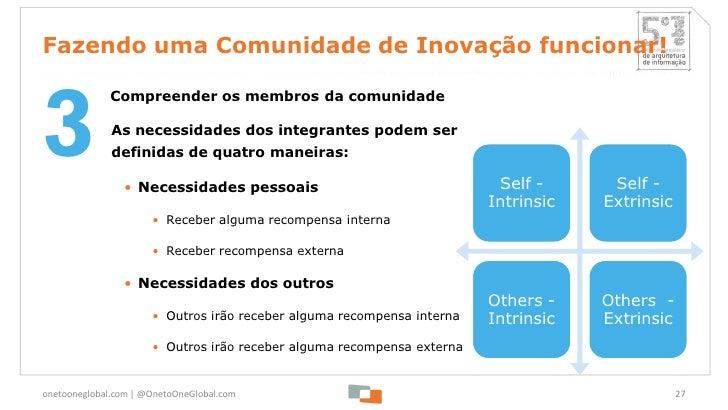 Fazendo uma Comunidade de Inovação funcionar!3              Compreender os membros da comunidade              As necessida...
