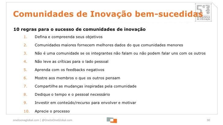 Comunidades de Inovação bem-sucedidas10 regras para o sucesso de comunidades de inovação       1.     Defina e compreenda ...