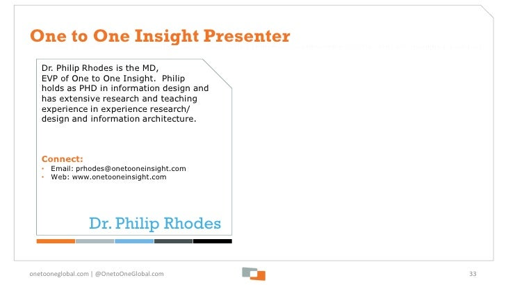 One to One Insight Presenter   Dr. Philip Rhodes is the MD,   EVP of One to One Insight. Philip   holds as PHD in informat...