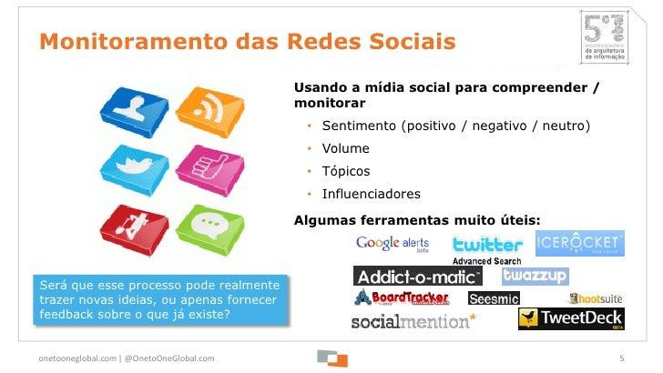 Monitoramento das Redes Sociais                                           Usando a mídia social para compreender /        ...