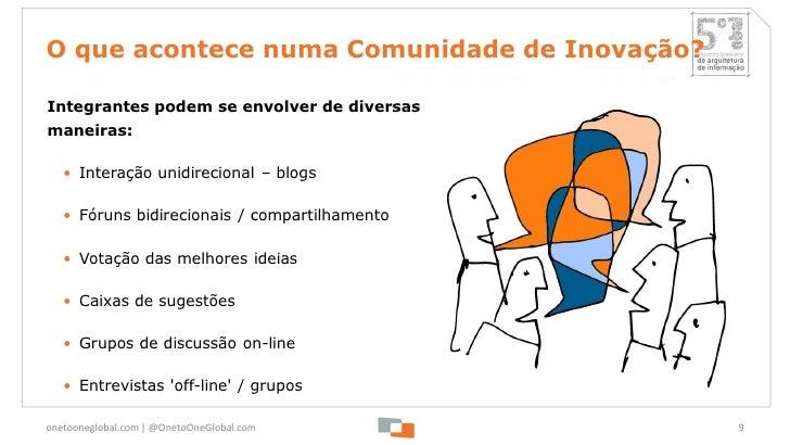 O que acontece numa Comunidade de Inovação?Integrantes podem se envolver de diversasmaneiras:   • Interação unidirecional ...