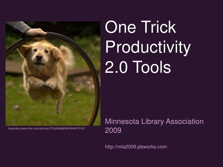 One Trick Productivity 2.0 Tools<br />Minnesota Library Association 2009<br />http://mla2009.pbworks.com<br />Superdog www...