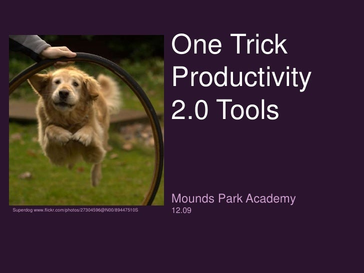 One Trick Productivity 2.0 Tools<br />Mounds Park Academy <br />12.09 <br />Superdog www.flickr.com/photos/27304596@N00/89...
