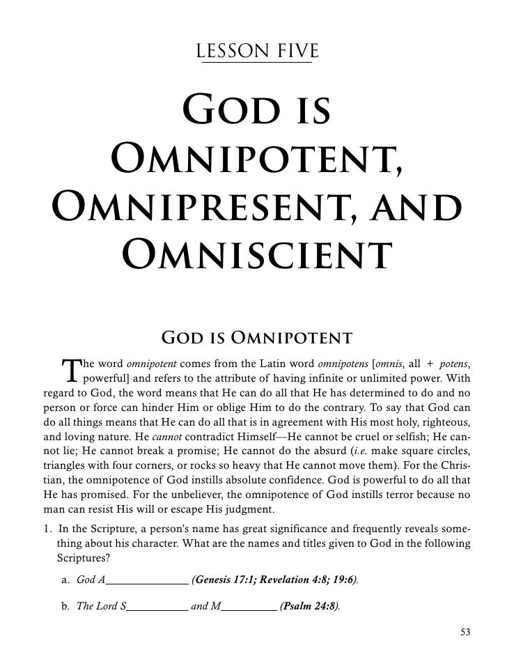 God is omniscient omnipotent and omnipresent verse