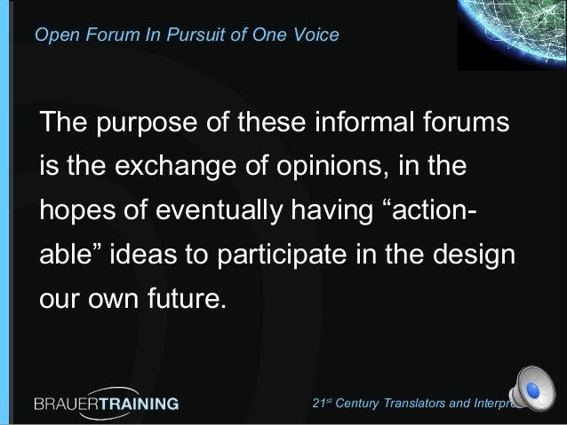 BrauerTraining One voice Forum # 1 Slide 2