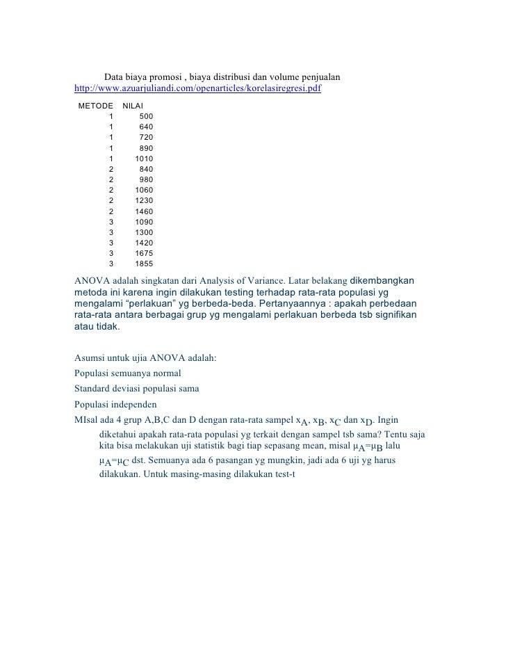Data biaya promosi , biaya distribusi dan volume penjualan http://www.azuarjuliandi.com/openarticles/korelasiregresi.pdf M...