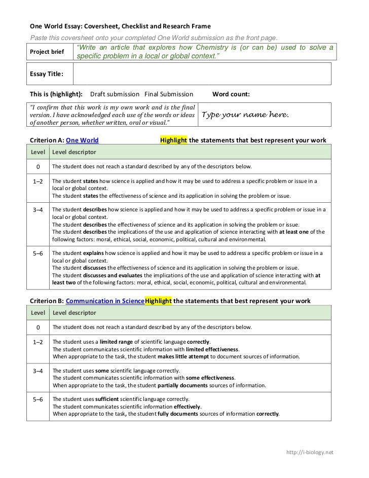 One World Essay: Coversheet, Checklist and Research FramePaste this coversheet onto your completed One World submission as...