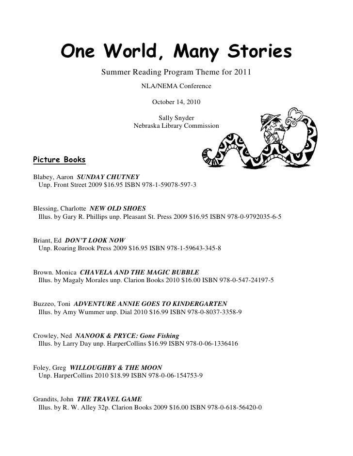 One World, Many Stories                        Summer Reading Program Theme for 2011                                      ...