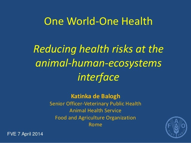 One World-One Health Reducing health risks at the animal-human-ecosystems interface  Katinka de Balogh  Senior Officer-Vet...