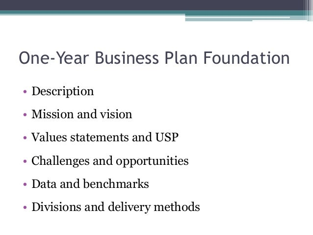 one year business plan