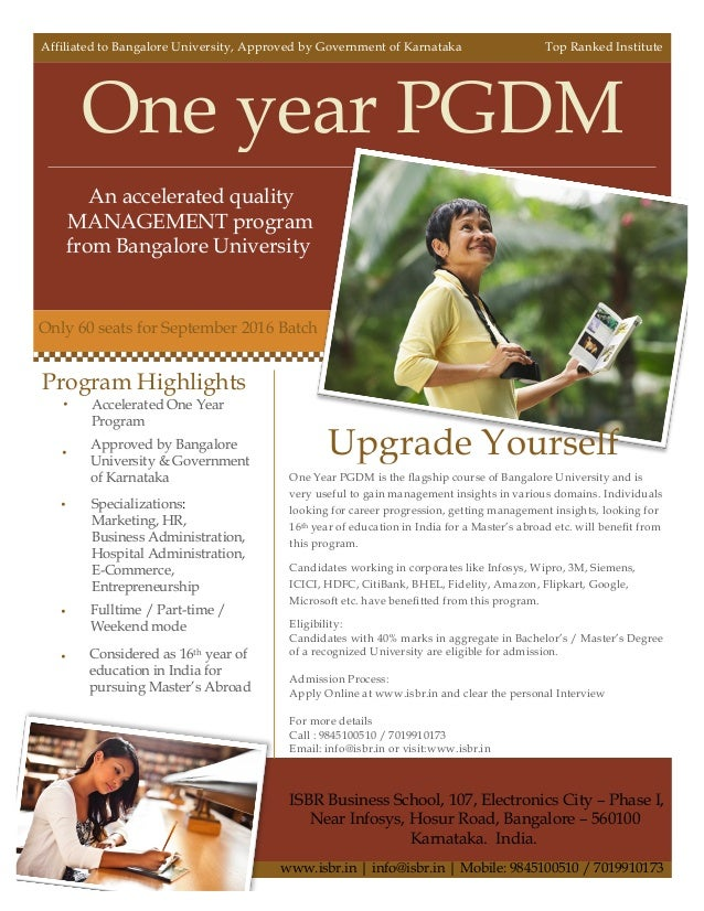 ISBR - One year PGDM Program - Offered from the Bangalore