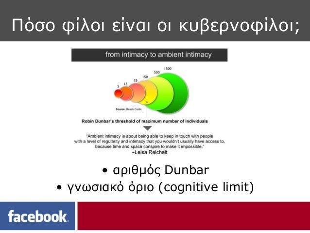 Πόσο φίλοι είναι οι κυβερνοφίλοι;            • αριθμός Dunbar     • γνωσιακό όριο (cognitive limit)