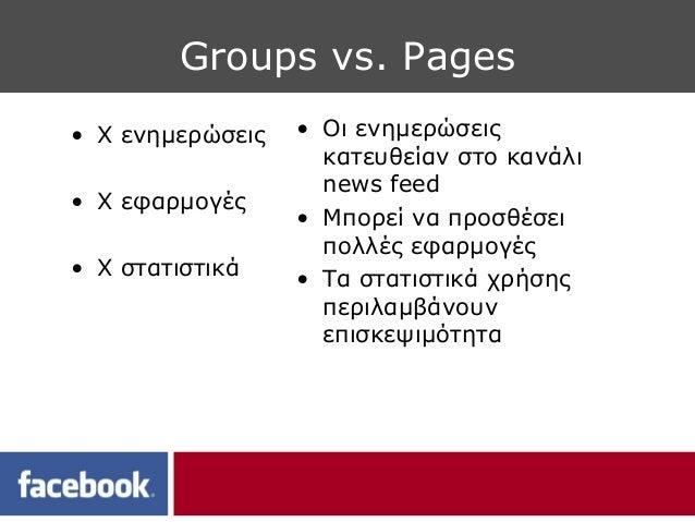 Groups vs. Pages• Χ ενημερώσεις   • Οι ενημερώσεις                    κατευθείαν στο κανάλι                    news feed• ...