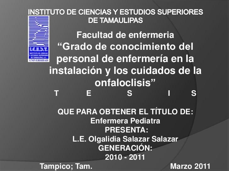 """INSTITUTO DE CIENCIAS Y ESTUDIOS SUPERIORES DE TAMAULIPAS<br />Facultad de enfermeria<br />""""Grado de conocimiento del pers..."""