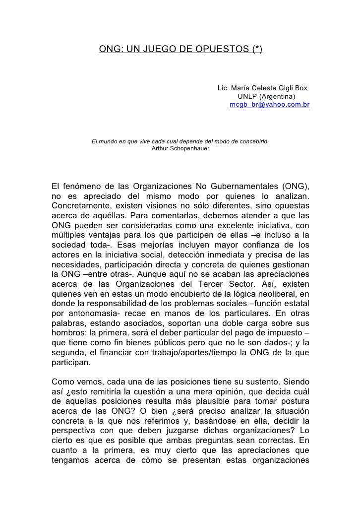 ONG: UN JUEGO DE OPUESTOS (*)                                                         Lic. María Celeste Gigli Box        ...