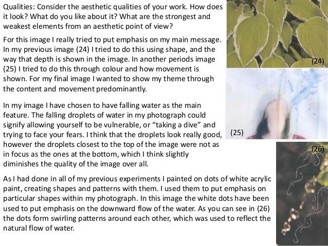41  (24)  (25)  (26)  Qualities: Consider the aesthetic qualities of your work. How does  it look? What do you like about ...