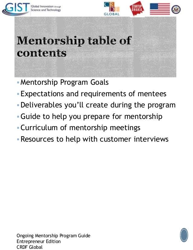 Preparation for mentorship