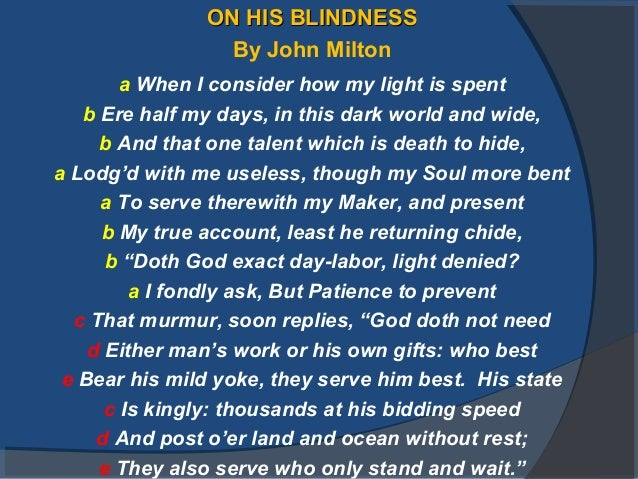 on his blindness 17 on his blindnesson his blindness by john milton