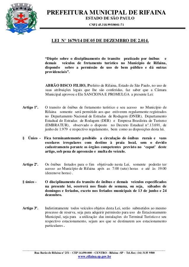 PREFEITURA MUNICIPAL DE RIFAINA  ESTADO DE SÃO PAULO  CNPJ 45.318.995/0001-71  ___________________________________________...