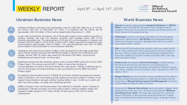 ONIC Weekly Report April 15 2019