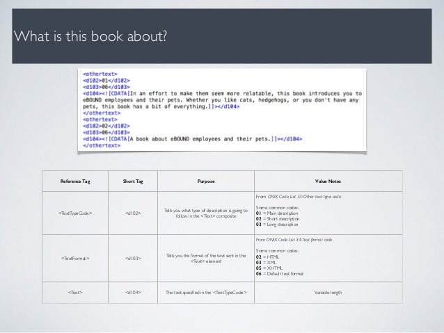What is this book about? Reference Tag Short Tag Purpose Value Notes <TextTypeCode> <d102> Tells you what type of descript...