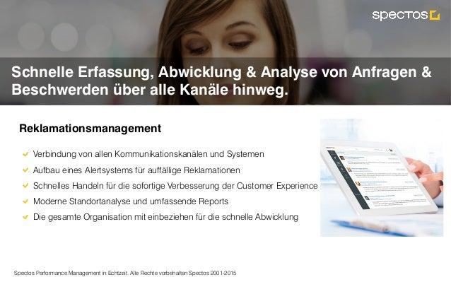 Spectos Performance Management in Echtzeit. Alle Rechte vorbehalten Spectos 2001-2015 Complaint Management Schnelle Erfass...