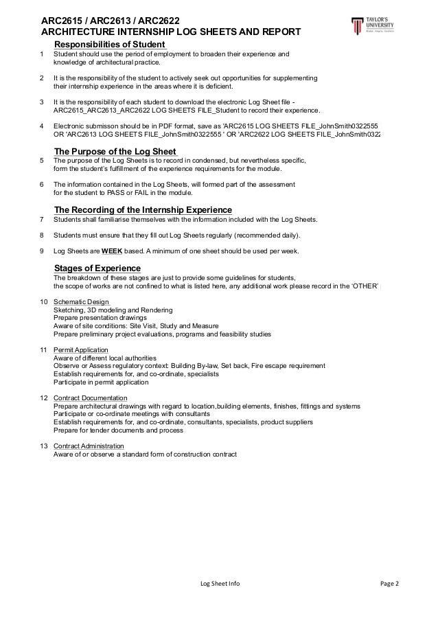 Architecture Design Sheet Format internship log sheet and report
