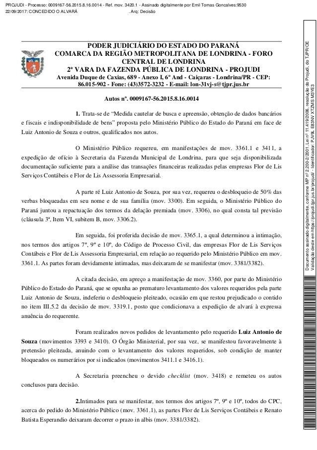 PODER JUDICIÁRIO DO ESTADO DO PARANÁ COMARCA DA REGIÃO METROPOLITANA DE LONDRINA - FORO CENTRAL DE LONDRINA 2ª VARA DA FAZ...