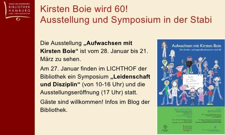 """Kirsten Boie wird 60!  Ausstellung und Symposium in der Stabi  <ul><li>Die Ausstellung  """"Aufwachsen mit Kirsten Boie""""  ist..."""