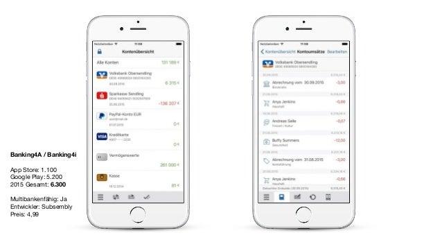 Banking4A / Banking4i App Store: 1.100  Google Play: 5.200  2015 Gesamt: 6.300  Multibankenfähig: Ja  Entwickler: Subsembl...