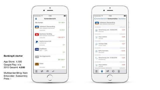 Banking4i starter App Store: 4.500  Google Play: n/a  2015 Gesamt: 4.500  Multibankenfähig: Nein  Entwickler: Subsembly   ...