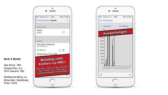 Bank X Mobile App Store: 390  Google Play: n/a  2015 Gesamt: 390  Multibankenfähig: Ja  Entwickler: Heidelberg   Preis: 19...