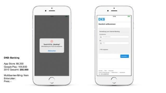 DKB-Banking App Store: 88.200  Google Play: 166.800  2015 Gesamt: 255.000  Multibankenfähig: Nein  Entwickler:   Preis: -
