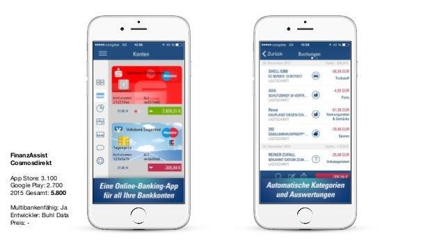 FinanzAssist Cosmosdirekt App Store: 3.100  Google Play: 2.700  2015 Gesamt: 5.800  Multibankenfähig: Ja  Entwickler: Buhl...