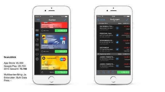finanzblick App Store: 45.000  Google Play: 28.700  2015 Gesamt: 73.700  Multibankenfähig: Ja  Entwickler: Buhl Data   Prei...