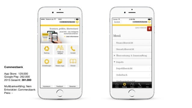Commerzbank App Store: 129.000  Google Play: 262.000  2015 Gesamt: 391.000  Multibankenfähig: Nein  Entwickler: Commerzban...