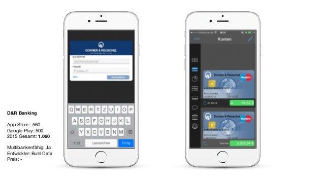 D&R Banking App Store: 560  Google Play: 500  2015 Gesamt: 1.060  Multibankenfähig: Ja  Entwickler: Buhl Data  Preis: -