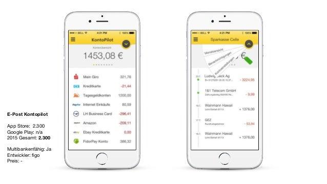 E-Post Kontopilot App Store: 2.300  Google Play: n/a  2015 Gesamt: 2.300  Multibankenfähig: Ja  Entwickler: figo   Preis: -