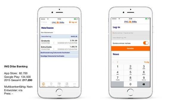 ING Diba Banking App Store: 82.700  Google Play: 134.500  2015 Gesamt: 217.200  Multibankenfähig: Nein  Entwickler: n/a   ...